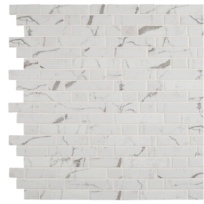 Statuario Celano Random Sized Glass Mosaic Tile in White