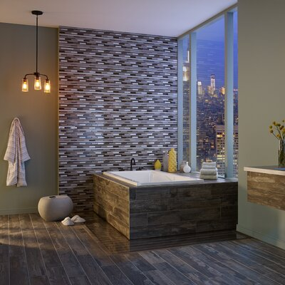 Madison Avenue Random Sized Glass/Metal Mosaic Tile in Beige
