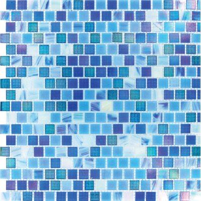 Opaque 0.6 x 0.6 Glass Mosaic Tile in Blue