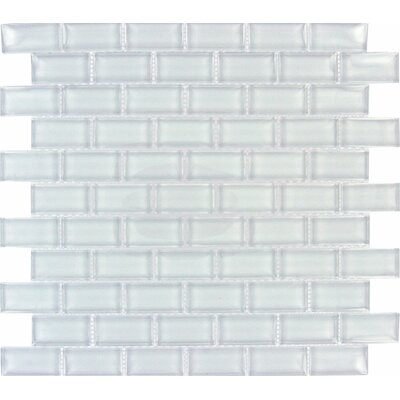 Crystallized 1 x 2 Glass Mosaic Tile in Arctic Ice White