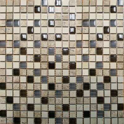 Crystallized 0.625 x 0.625 Glass Mosaic Tile in Caf� Noce