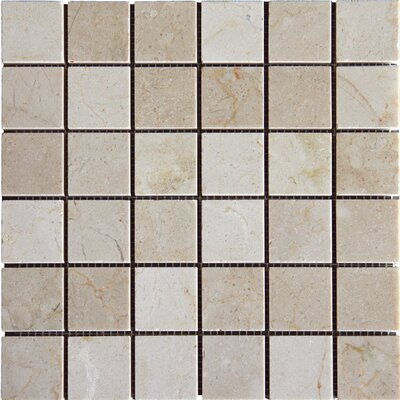 2 x 2 Marble Mosaic Tile in Crema Marfil