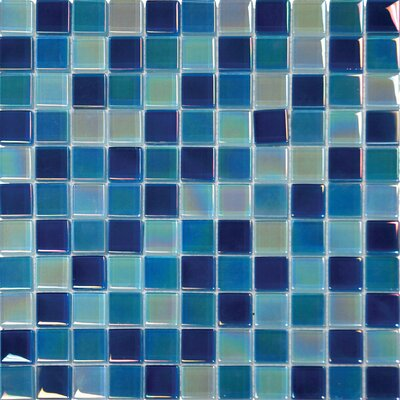 Iridescent 1 x 1 Glass Mosaic Tile in Iridiscent Blue