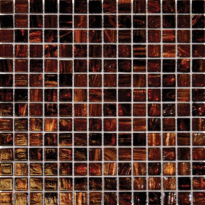 0.75 x 0.75 Glass Mosaic Tile in Brown Iridescent