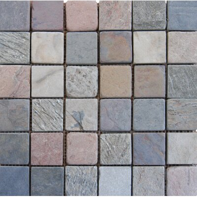 Tumbled Mixed Slate Mesh Mounted 12 x 12 Natural Stone Mosaic Tile