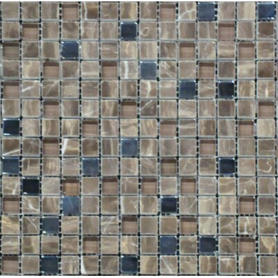 0.625 x 0.625 Glass Mosaic Tile in Emperador Caf� Blend