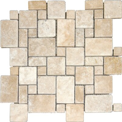 Mini Versailles Tumbled Mesh Mounted 12 x 12 Natural Stone Mosaic Tile in Tuscany Ivory