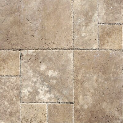 Tuscany Walnut Random Sized Travertine Tile in Unfilled and Chipped Brown