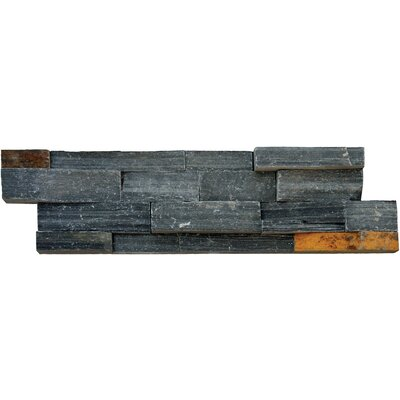 6 x 24 Slate Splitface Tile in Charcoal/Rust (Set of 4)