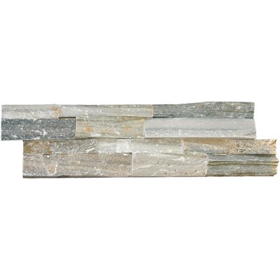 6 x 24 Natural Stone Splitface Tile in Blue (Set of 4)