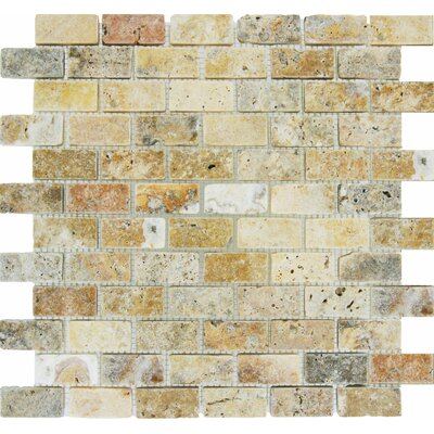 Tuscany Scabas 1 x 2 Travertine Mosaic Tile in Beige