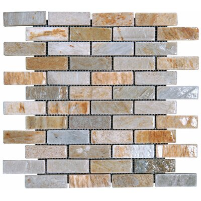 1 x 3 Slate Mosaic Tile in Golden White