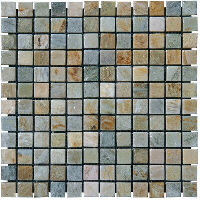 1 x 1 Slate Mosaic Tile in Golden White