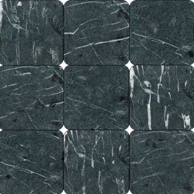 "4"" x 4"" Tumbled Marble Tile in China Black"