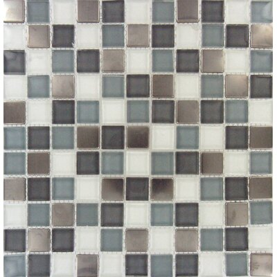 Diamond Cove Mounted 1 x 1 Glass and Metal Mosaic Tile in Multi