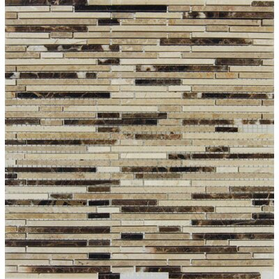 Emperador Mounted Random Sized Marble Mosaic Tile in Brown