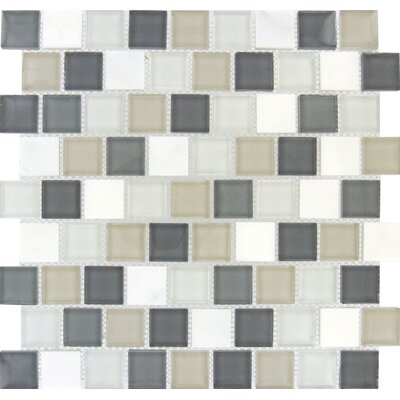 Glacier Peak 1.25 x 1.25 Glass/Stone Mosaic Tile in Gray and White