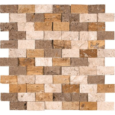Mixed Mounted 1 x 2 Travertine Splitface Tile in Multi