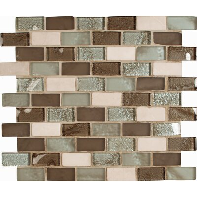 1 x 2 Glass and Stone Subway Tile in Beige