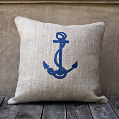 Anchor Throw Pillow Color: Natural/Navy