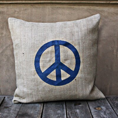 Peace Throw Pillow Color: Natural/Blue