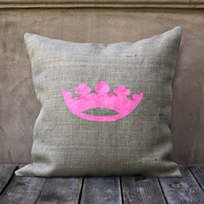 Crown Throw Pillow Color: Natural/Pink