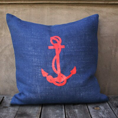 Anchor Throw Pillow Color: Navy/Red
