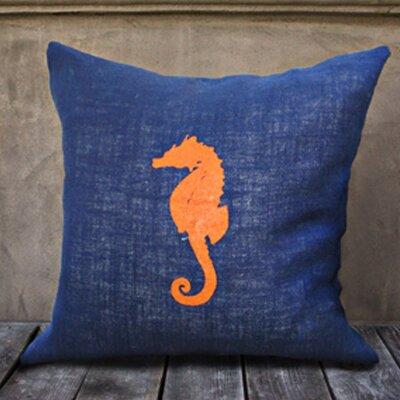 Seahorse Throw Pillow Color: Navy/Orange