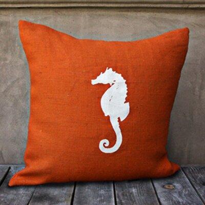 Seahorse Throw Pillow Color: Orange/White
