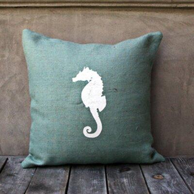 Seahorse Throw Pillow Color: Spa Blue/White