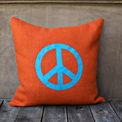 Peace Throw Pillow Color: Orange/Bue