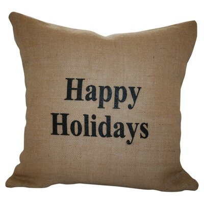 Happy Holidays Throw Pillow Color: Black