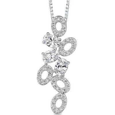 Tumbling Beauty: Sterling Silver Designer Inspired Bridal Style Pendant Necklace with Cubic ...