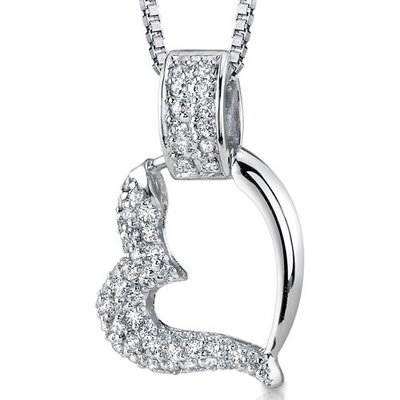 Sweetheart Style Sterling Silver Bridal Style Floating Heart White Cubic Zirconia Pendant Necklace