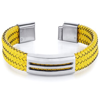 Mens Modern Yellow Woven Leather and Stainless Steel Bracelet