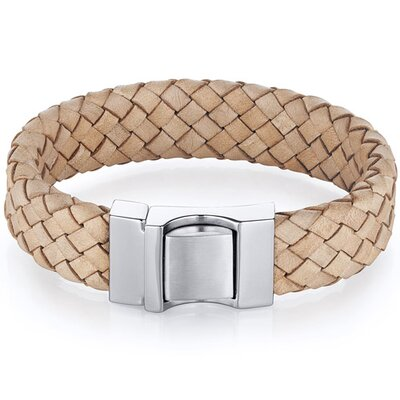 Mens Natural Tan Woven Leather and Stainless Steel Bracelet