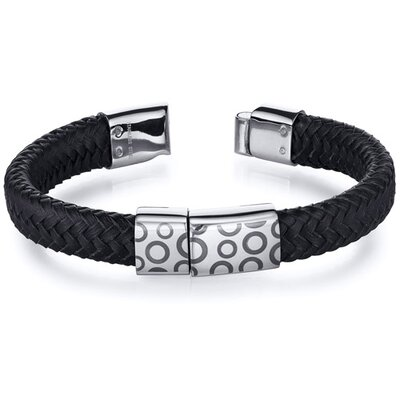 Mens Circle Motif Black Woven Leather Stainless Steel Bracelet