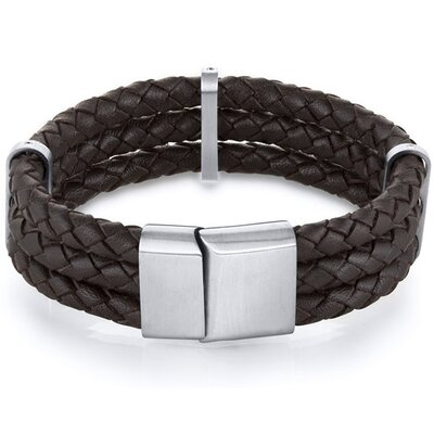 Mens Triple Layer Brown Woven Leather Bracelet
