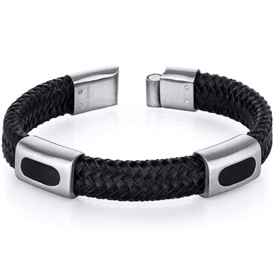 Mens Black Woven Leather and Stainless Steel Bracelet