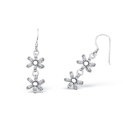 Satin Finish Flower Style Dangling Wire Earrings in Sterling Silver