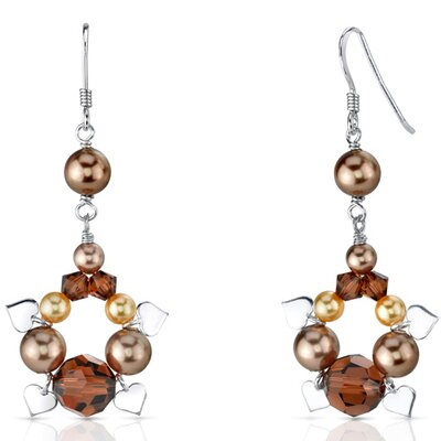 Chocolate Dream s and Pearls Drop Earrings in Sterling Silver with Swarovski Elements
