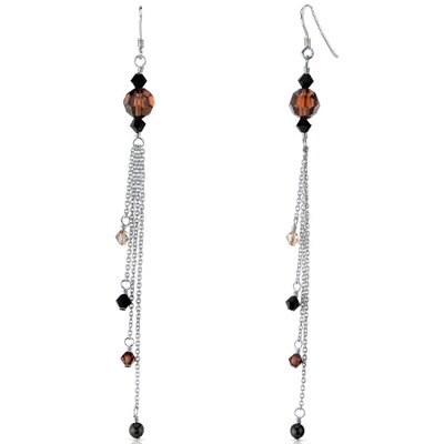 Amber Beauty s and Pearls Drop Earrings in Sterling Silver with Swarovski Elements