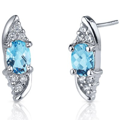 Dashing Dazzle 1.50 Carats Swiss Blue Topaz Oval Cut Cubic Zirconia Earrings in Sterling Silver ...