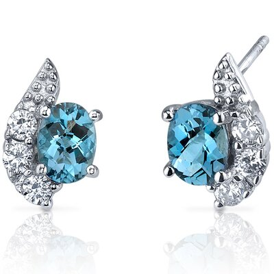 Sparkling Wave 1.50 Carats London Blue Topaz Oval Cut Cubic Zirconia Earrings in Sterling ...