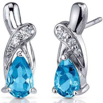 Graceful Glamour 2.00 Carats Swiss Blue Topaz Pear Shape Cubic Zirconia Earrings in Sterling ...