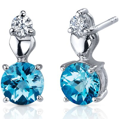 Gleaming Heart 2.00 Carats Swiss Blue Topaz Round Cut Cubic Zirconia Earrings in Sterling ...