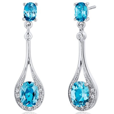 Glamorous 3.50 carats Swiss Blue Topaz Oval Cut Dangle Diamond CZ Earrings in Sterling Silver ...
