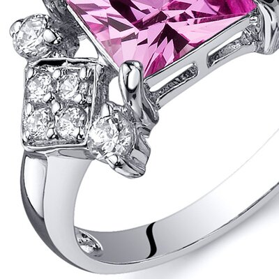 Oravo Princess Cut 2.25 Carats Cubic Zirconia Ring in Sterling Silver - Size: 8, Color: Pink Sapphire at Sears.com
