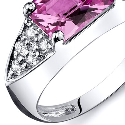 Oravo Sleek Sophistication 2.00 Carats CZ Ring in Sterling Silver - Size: 9, Color: Pink Sapphire at Sears.com