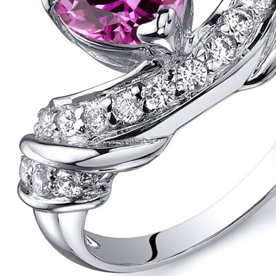 Oravo Heart Shape 1.75 carats Cubic Zirconia Ring in Sterling Silver - Size: 6, Color: Pink Sapphire at Sears.com